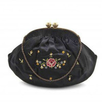 1940s Evening Bag by Denise Francelle, Pink Floral Embroidery on Black Satin