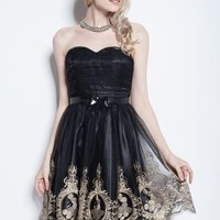 Beautifly Black Gauze Sweetheart Satin Cocktail Party Bidesmaid Evening Ball Dress