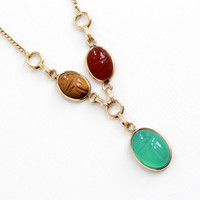 Vintage 12k Rosy Yellow Gold Filled Scarab Necklace - Carved Colorful Carnelian, Tiger's Eye, Chrysoprase Egyptian Revival Beetle Jewelry