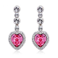 Swarovski Element Pink Crystal Heart Dangle Earring