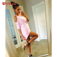 Womdee Off Shoulder T-shirt Women Summer 2017 New Basic Top T-shirts Casual O-neck Half Sleeve Kawaii Long T shirts Plus Size