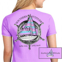 Country Life Southern Attitude Sail Boat Orchid Vintage Nautical T-Shirt