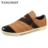 Tangnest Men's Casual Shoes Fashion Spring Autumn Patchwork Loafers Male Slip-on Canvas Flats PU Leather Men Shoe Size39-44 R113