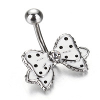 White Bow Bowknot Dangle Belly Button Ring