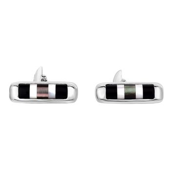 Sterling Silver Mother Of Pearl and Black Agate Cylinder Shape Cufflinks