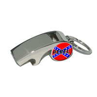 REBEL - Confederate Southern Flag Distressed Whistle Bottle Opener Keychain