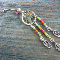 Lime Green dreamcatcher belly ring turquoise green pink orange beads in native american tribal boho hippie belly dancer and hipster style