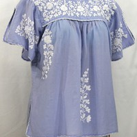 """La Lijera"" Embroidered Peasant Blouse Mexican Style -Periwinkle + White"