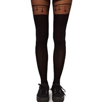 Heart and Chains Faux Thigh High Garter Sheer Tights for Women | DOTOLY