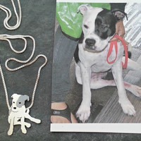 Your Pet Pendant TaGette Necklace .. Pitbull Sterling Silver Dog silhouette Jewelry Memoralize Keepsake, Gift