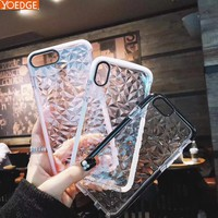 360 Full Protect Luxury Geometric Diamond Transparent Soft Case For iPhone6 7 8 Plus Rhombus Clear Cover For iPhone 6S X Case