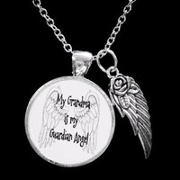 My Grandma Is My Guardian Angel Wing In Memory Sympathy Gift Necklace