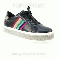 Bling Woman's Rhinestone Fashion Sneakers Black Rainbow 7-11