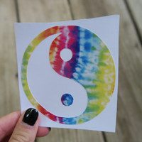 Yin Yang Tie Dye Hippie Macbook Car Sticker Ying Yang Balance Rad Laptop Decal