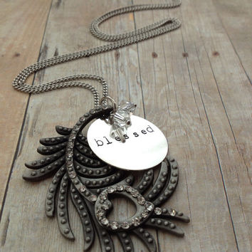 "Silver Peacock Feather ""blessed"" Necklace, Hand Stamped"