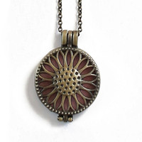 Aromatherapy Diffuser Locket Necklace for Essential Oils - Sunflower Bronze Locket