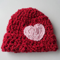 Red Baby Beanie with heart - Baby Beanie - Baby Girl Beanie Hat - Ready to Ship
