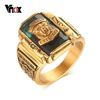 Vnox Lion Head  Ring Men Jewelry Large Male Rings for School Party Jewelry Gold-color Stainless Steel
