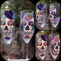 Hand painted bride and groom sugar skull by ArianaVictoriaRose