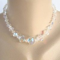 Glass AB Crystal Choker Necklace Colorful Vintage Jewelry