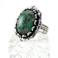 Green Cocktail Ring, Adjustable, Vintage Glass Stone, Antiqued Silver Ring, Vintage Inspired, Spring Jewelry, Jewel Tone