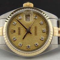ROLEX Ladies Gold & SS 26mm Datejust Champagne Jubilee Diamond 69173 SANT BLANC