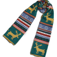 Green Snowflake and Elk Knitted Scarf