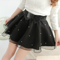 2016 New Women Tutu Pleated Organza Bow Knot Umbrella Skirt Bust Lei Mesh Gauze Mini Tulle White Black Skirt