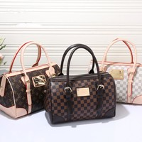 """Louis Vuitton"" Fashion Classic Retro Tartan Print Multicolor Single Shoulder Bag Women High Capacity Handbag Barrel Bag"