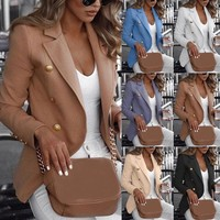 Women Long Sleeve Formal Blazer Jackets Cardigan Office Work Lady Notched Slim Fit Suit Business Autumn New Outerwear Tops