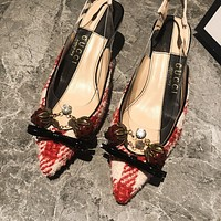 GUCCI The latest in 2021 spring and summer. strawberry 🍓 Slubby heels