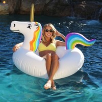 Unicorn Party Tube Inflatable Giant Lounger Pool Summer Fun Rainbow colors aduls