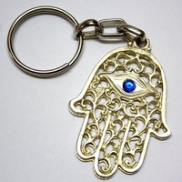 """""""LUCKY HAMSA"""" Amulet Pendant Charm Key Ring for Success and Evil Eye Protection"""