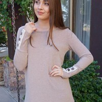 Live For The Moment Mocha Brown Tunic Sweater With Lace