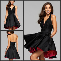 Short Little Black Cocktail Party Dresses 2017 Halter Neck Backless Homecoming Dresses Satin Two Tone Prom Graduation Dresses