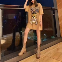 """ Moschino"" Woman Casual Fashion Rabbit Bear Letter Beading Multicolour Printing Loose Large Size Short Sleeve T-Shirt Tops"