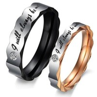 """(Male + Female)""""I will always be with you"""" W/ CZ Stone Faceted Edge 316 l Stainless Steel Titanium Wedding Band Anniversary/Engagement/Promise/Couple Ring Best Gift! [8958433799]"""