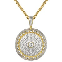 Solitaire Bling Custom Circle Medallion Silver Pendant Exclusive