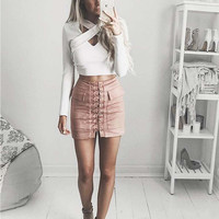 Autumn Winter Suede Leather Skirts Womens 2016 Vintage Pocket Preppy High Waist Lace Up Casual Mini Pencil Skirts