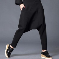 Autumn Black Elastic Waist Cross pants Trousers for Women Harem Pants Female Casual Breeches Bottoms Clothes