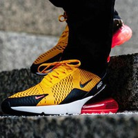 Nike Air Max 270 Contrast Women Men The air cushion shoes Yellow
