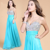 Sexy V-neck prom dress, prom dress gorgeous beaded cocktail dress party dress, blue chiffon ball gown dress Pageant
