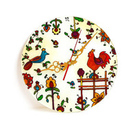 """Painted Wall clock. D- 11.811"""". Wall decor. Wall art. Stained glass."""