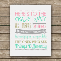 Here's to the Crazy Ones - Steve Jobs Quote - Graphic Print - Wall Art