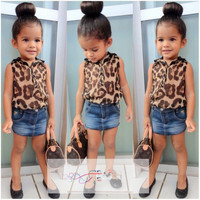 Girls 2 PC Leopard Top and Denim Skirt