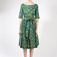1950 party dress 1950 prom dress Cocktail dress green 1950 green dress Green floral dress Midi dress Plus size dress Liberty print dress
