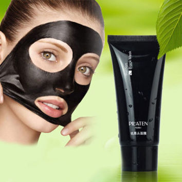Black Mask Pilaten Face Mask Tearing Style Deep Cleansing Oil Skin Blackhead Acne Remover Strawberry Nose Black Mud Masks 60g