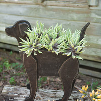 Recycled Wooden Black Lab Planter