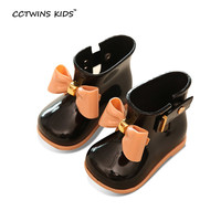 CCTWINS KIDS spring autumn children pvc leather shoe for baby girl bow rain boot boy wellington boot kid brand waterproof boot