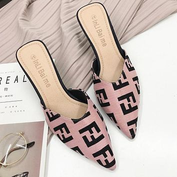 FENDI Autumn Popular Women Pointed High Heels Sandals Shoes Pink
